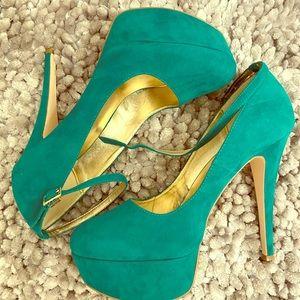 Emerald Green Heel, Rouge Brand, Women's size 10